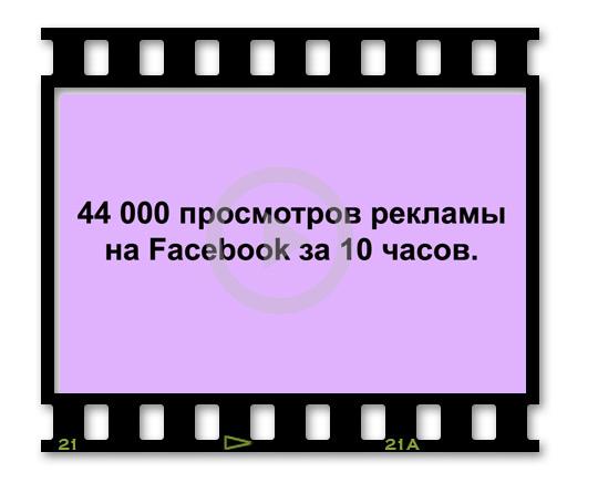 44000 просмотров рекламы на Facebook за 10 часов